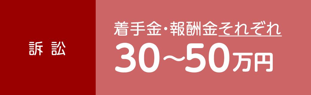 訴訟 着手金・報酬金それぞれ30〜50万円