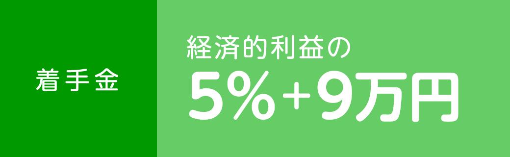 着手金 経済的利益の5%+9万円
