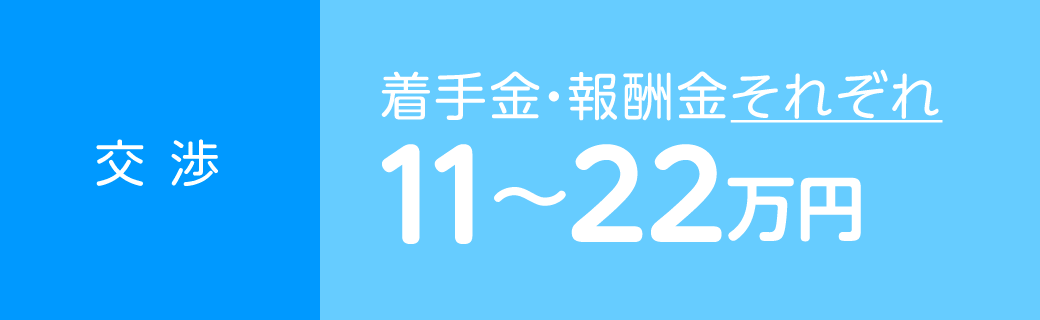 交渉 着手金・報酬金それぞれ11〜22万円