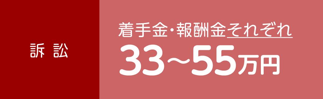 訴訟 着手金・報酬金それぞれ33〜55万円