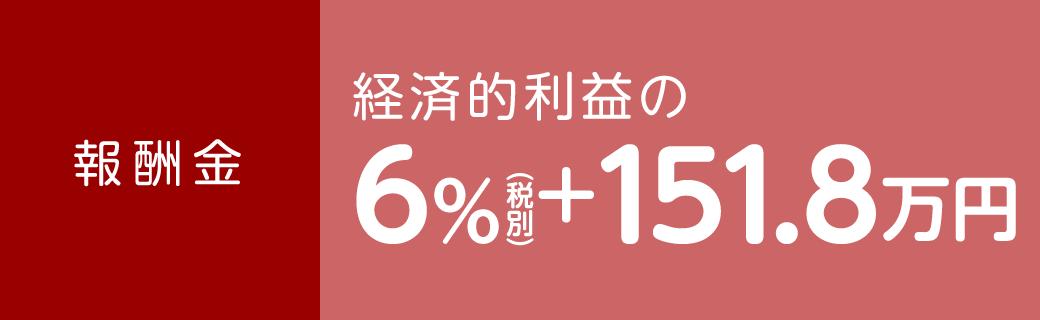 報酬金 経済的利益の6%(税別)+151.8万円